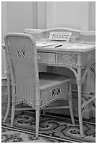 Desk in assembly room. Hot Springs National Park ( black and white)