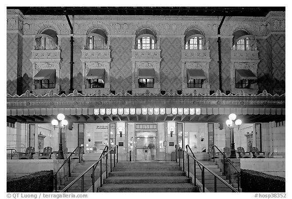 Fordyce Bathhouse facade at night. Hot Springs National Park (black and white)