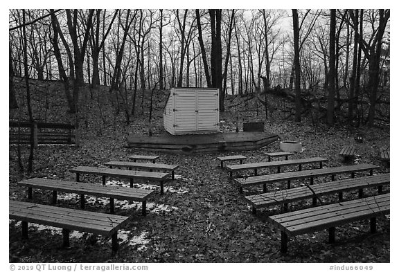 Amphitheater, Dunewood Campground. Indiana Dunes National Park (black and white)