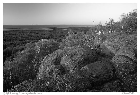 Eroded granite blocs on Mount Franklin at sunset. Isle Royale National Park (black and white)