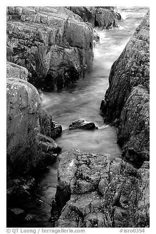 Rock gorge near Scoville point. Isle Royale National Park (black and white)