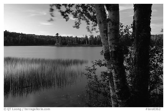 West Chickenbone lake at dusk. Isle Royale National Park (black and white)