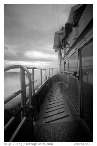 Ferry battered by a severe storm. Isle Royale National Park (black and white)