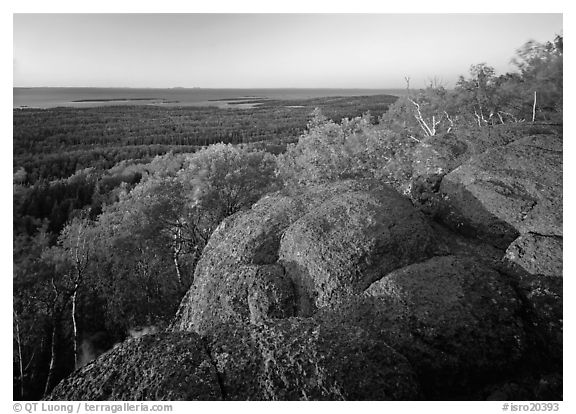 Mount Franklin granite outcrop and distant Lake Superior at sunset. Isle Royale National Park (black and white)