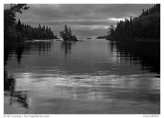 Islet in Chippewa Harbor at sunrise. Isle Royale National Park (black and white)