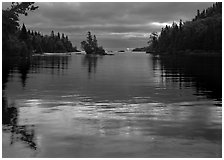 Islet in Chippewa Harbor at sunrise. Isle Royale National Park ( black and white)