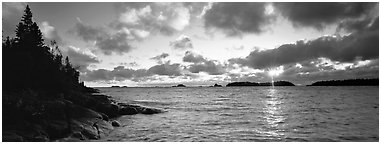 Lake Superior cloudy sunrise. Isle Royale National Park (Panoramic black and white)
