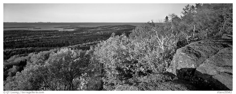 Rocky bluff overlooking island with Lake Superior in the distance. Isle Royale National Park (black and white)