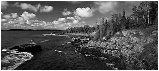 Rocky Lakeshore. Isle Royale National Park (Panoramic black and white)