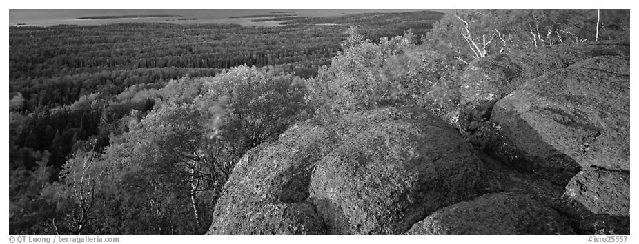 Rocky outcrop with last light. Isle Royale National Park (black and white)