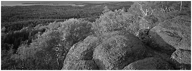 Rocky outcrop with last light. Isle Royale National Park (Panoramic black and white)