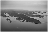 Aerial View of Blake Point and archipelago. Isle Royale National Park ( black and white)