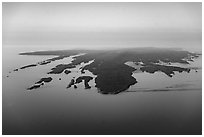 Aerial View of Isle Royale with aligned ridges. Isle Royale National Park ( black and white)
