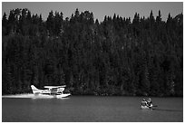 Seaplane and canoe. Isle Royale National Park ( black and white)
