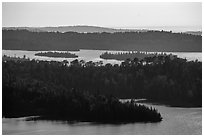 Ridges and islets from Louise Lookout. Isle Royale National Park ( black and white)