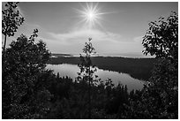View from Louise Lookout looking into the sun. Isle Royale National Park ( black and white)