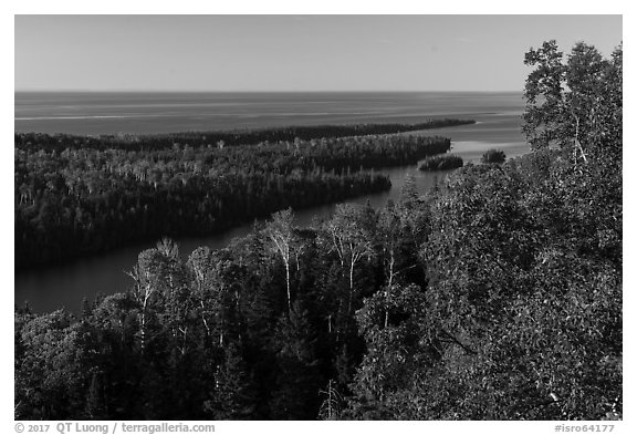 Locke Point from Louise Lookout, afternoon. Isle Royale National Park (black and white)