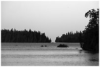 Tobin Harbor, sunset. Isle Royale National Park ( black and white)
