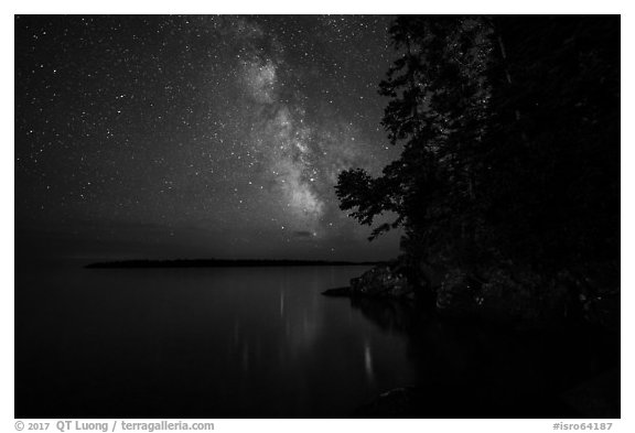 Milky Way and Smithwitck Island from Rock Harbor. Isle Royale National Park (black and white)