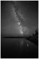 Milky Way reflected in Rock Harbor. Isle Royale National Park ( black and white)