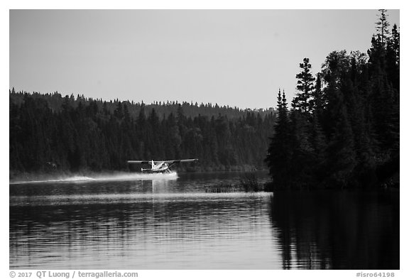 Floatplane take off, Tobin Harbor. Isle Royale National Park (black and white)