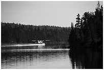 Floatplane take off, Tobin Harbor. Isle Royale National Park ( black and white)
