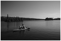 Kayakers, Tobin Harbor. Isle Royale National Park ( black and white)