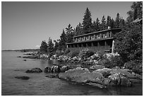 Guest units, Rock Harbor Lodge. Isle Royale National Park ( black and white)