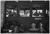 Backpacks lined behind visitor center, Rock Harbor. Isle Royale National Park ( black and white)