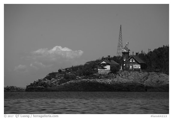 Passage Island Lighthouse 1882. Isle Royale National Park (black and white)