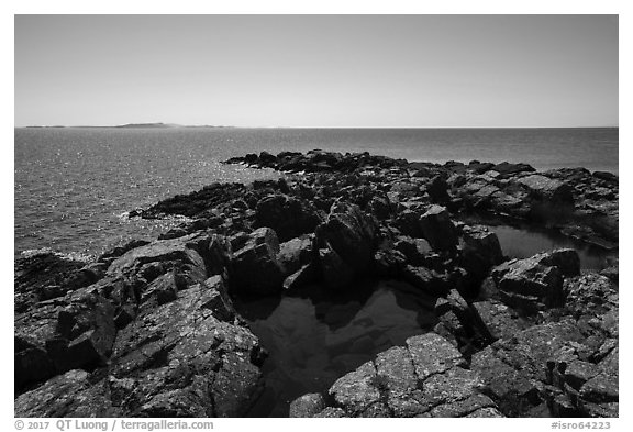 Pools and tip of Passage Island and Isle Royale in the distance. Isle Royale National Park (black and white)