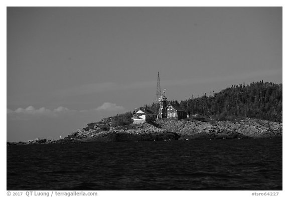 Passage Island and Lighthouse. Isle Royale National Park (black and white)