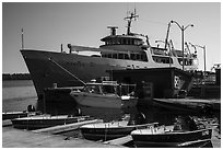 Marina and Ranger III ferry. Isle Royale National Park ( black and white)