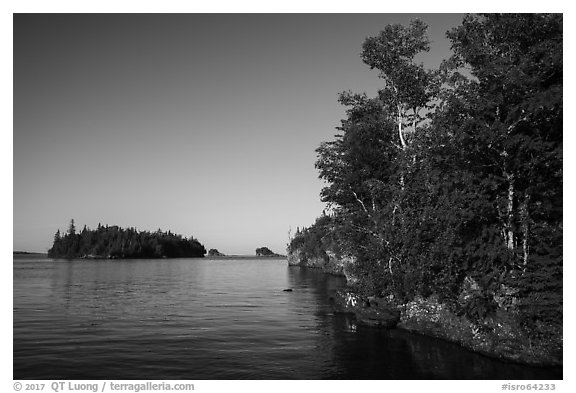 Shaw Island from Tookers Island. Isle Royale National Park (black and white)