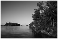 Shaw Island from Tookers Island. Isle Royale National Park ( black and white)