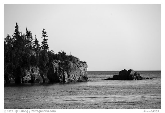 Sea cliffs and rocks, outer island. Isle Royale National Park (black and white)