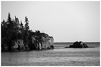 Sea cliffs and rocks, outer island. Isle Royale National Park ( black and white)
