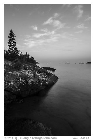 Lakeshore, Rock Harbor, sunset. Isle Royale National Park (black and white)