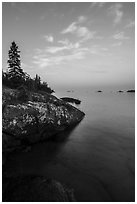 Lakeshore, Rock Harbor, sunset. Isle Royale National Park ( black and white)
