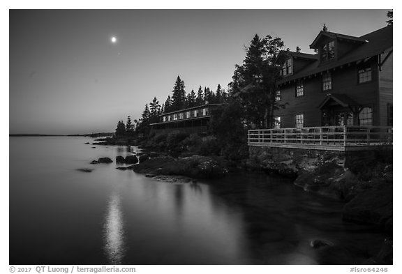 Rock Harbor Lodge and moon at dusk. Isle Royale National Park (black and white)