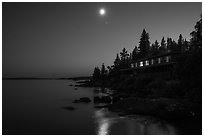 Rock Harbor Lodge at night. Isle Royale National Park ( black and white)