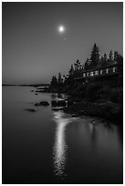 Rock Harbor Lodge at night, moon and reflection. Isle Royale National Park ( black and white)