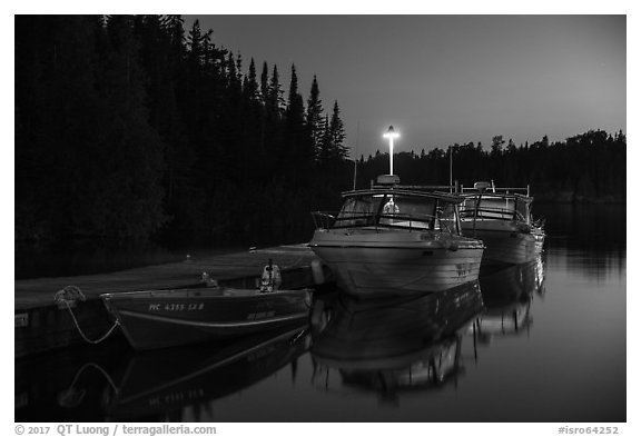Rock Harbor marina at night. Isle Royale National Park (black and white)