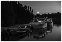 Rock Harbor marina at night. Isle Royale National Park ( black and white)