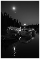 Rock Harbor marina with moon reflected. Isle Royale National Park ( black and white)