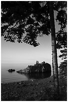 Tree, offshore islet, and Lake Superior, Mott Island. Isle Royale National Park ( black and white)