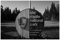 Isle Royale National Park sign, Mott Island. Isle Royale National Park ( black and white)