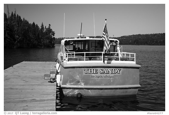 Tour boat Sandy. Isle Royale National Park (black and white)