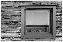 Net house window reflection, Edisen Fishery. Isle Royale National Park ( black and white)