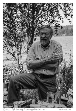 Rolf Peterson, wildlife biologist. Isle Royale National Park (black and white)